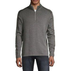 NEW Robert Graham Charcoal Quarter-Zip Sweater S
